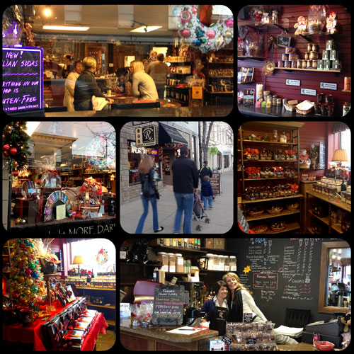 Photo collage of holiday time at The Chocolate Therapist
